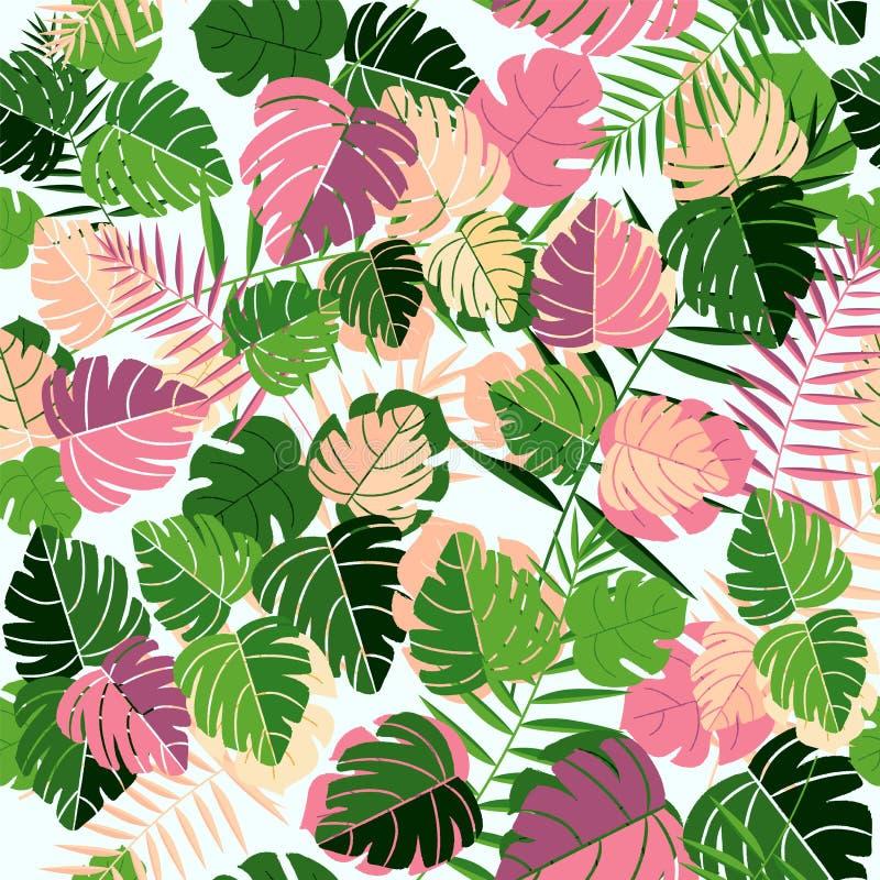 Tropisch naadloos het patroonart. van het de zomerblad vector illustratie