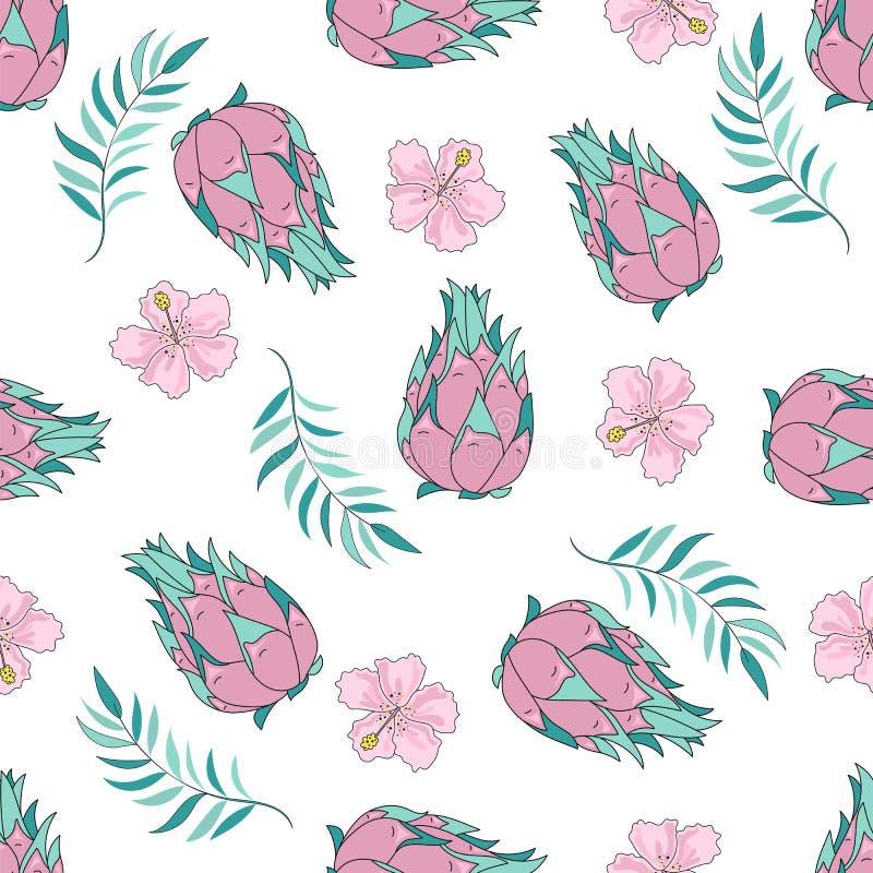 Tropisch Naadloos Patroon kleurrijk vector TROPISCH FRUIT stock illustratie
