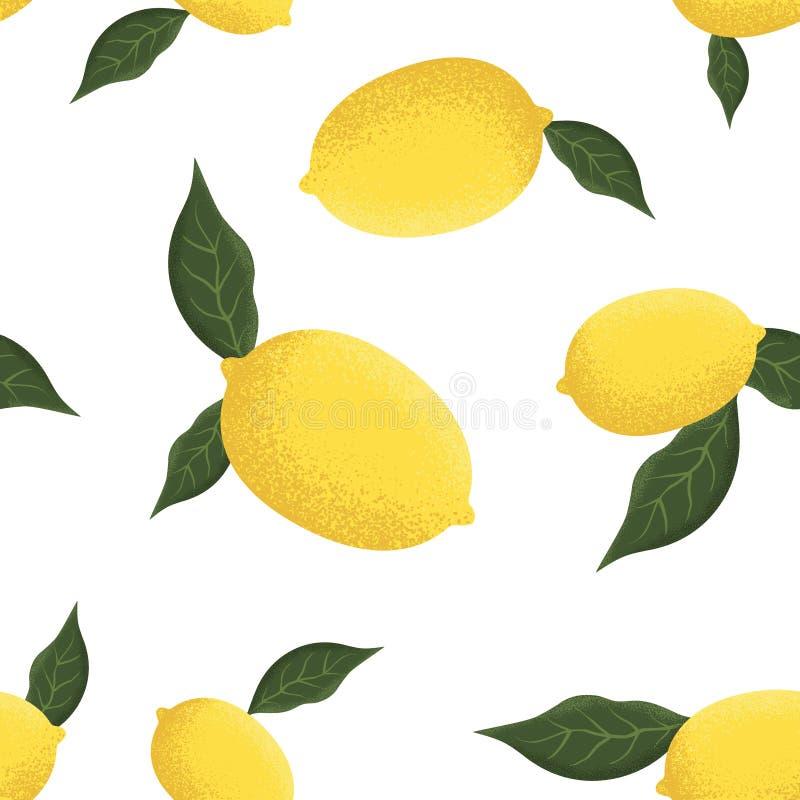 Tropisch naadloos patroon met gele citroenen royalty-vrije illustratie