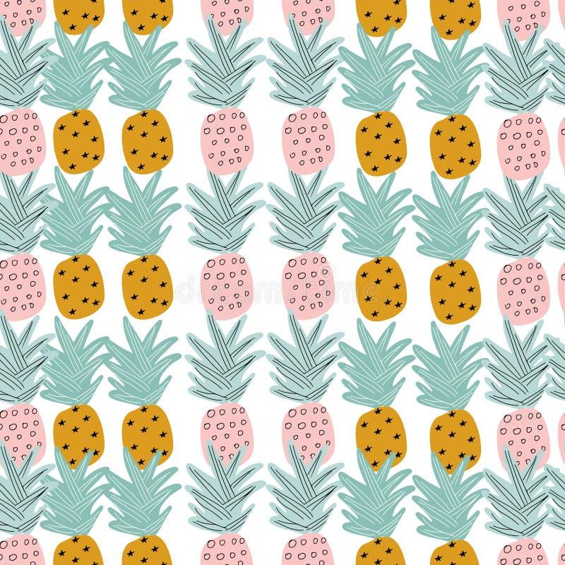 Tropisch naadloos patroon met hand getrokken ananassen stock illustratie