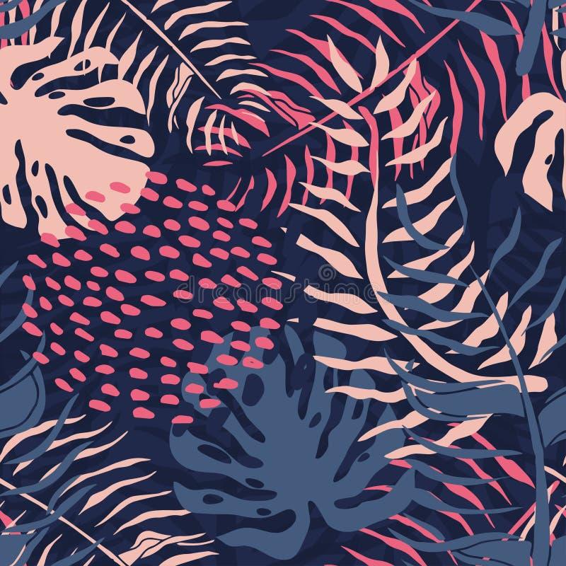 Tropisch naadloos patroon met palmbladen De zomer bloemenpatroon met roze palmbladen en monsteragebladerte royalty-vrije illustratie