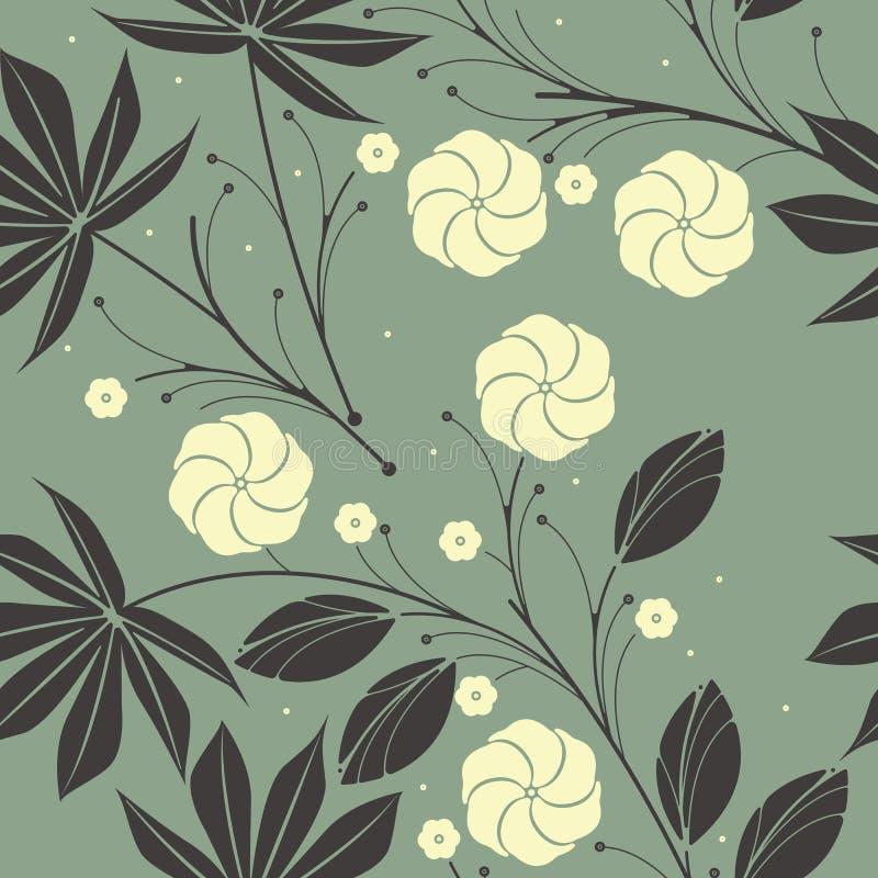 Tropisch naadloos patroon met palmbladen en hibiscusbloemen stock illustratie