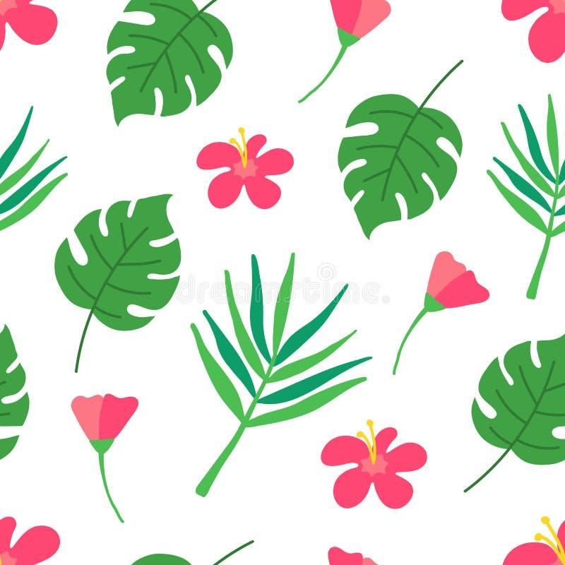 Tropisch naadloos patroon op donkergroene achtergrond De zomerontwerp met tropische bladeren, monstera, banaanbladeren, hibiscus royalty-vrije illustratie