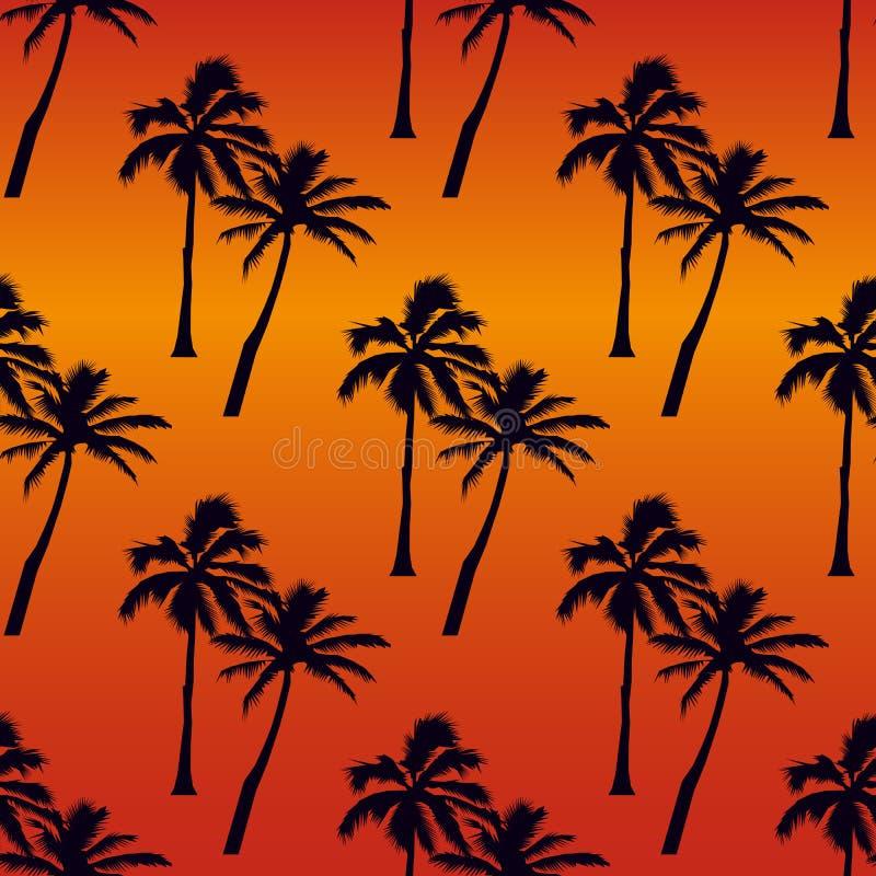 Tropisch naadloos patroon - purpere en purpere palmenbomen op een oranje achtergrond vector illustratie