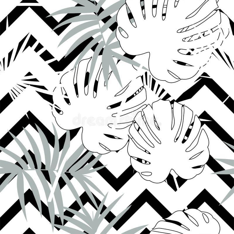 Tropisch naadloos vector bloemenpatroon met palmbladen, wildernisblad Tropische zwart-wit zwart-witte achtergrond, royalty-vrije illustratie