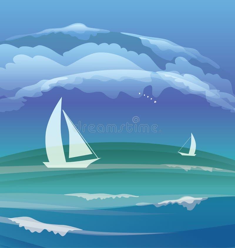 Tropisch oceaaneiland lanscape royalty-vrije illustratie