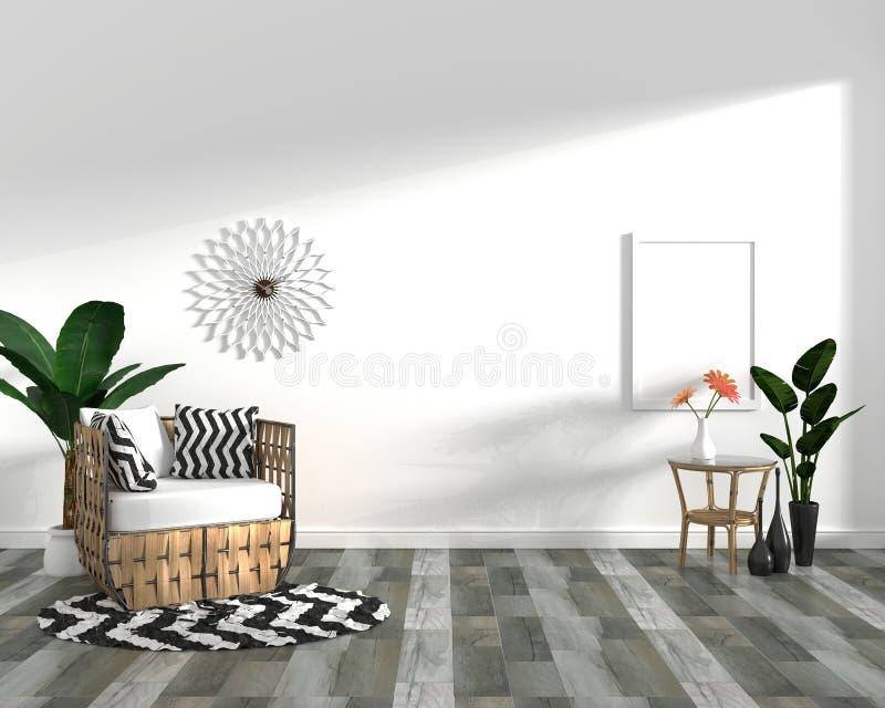 Tropisch ontwerp, leunstoel, installatie, kabinet op donkere houten tegelvloer en witte achtergrond 3 D het teruggeven vector illustratie
