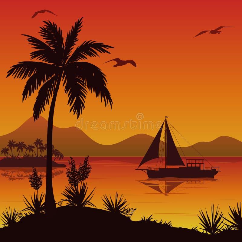 Tropisch overzees landschap met palmen en schip vector illustratie