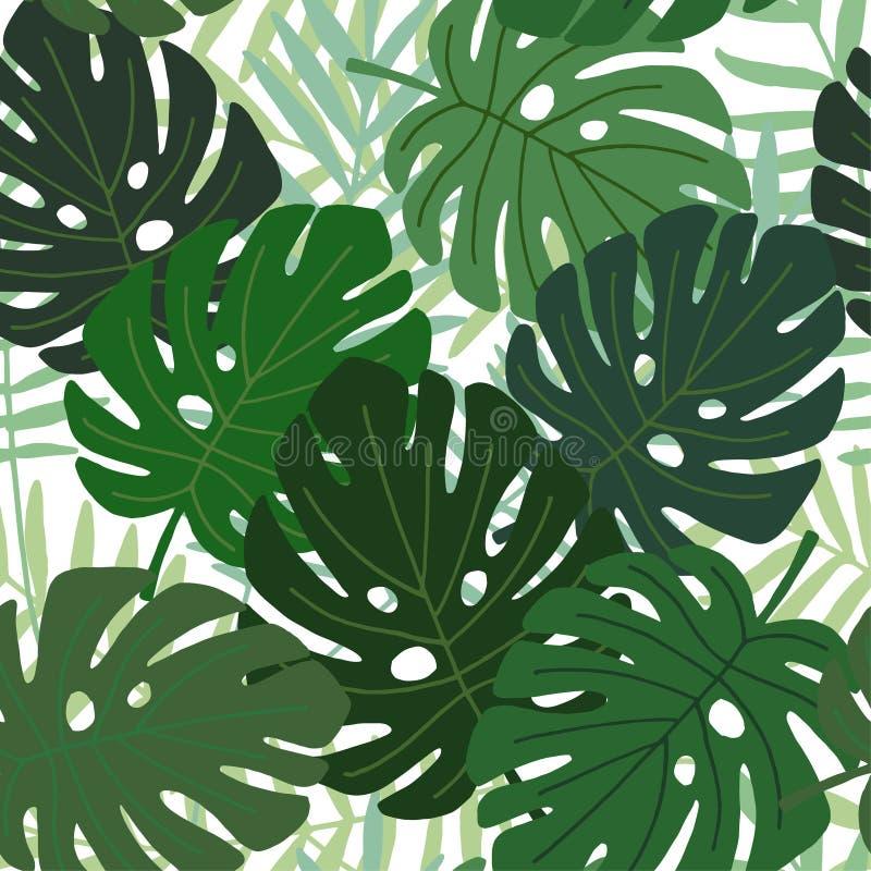 Tropisch palm en monsterabladeren naadloos patroon, vlak ontwerp, illustratie stock illustratie
