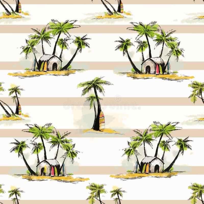 Tropisch palmpatroon stock illustratie