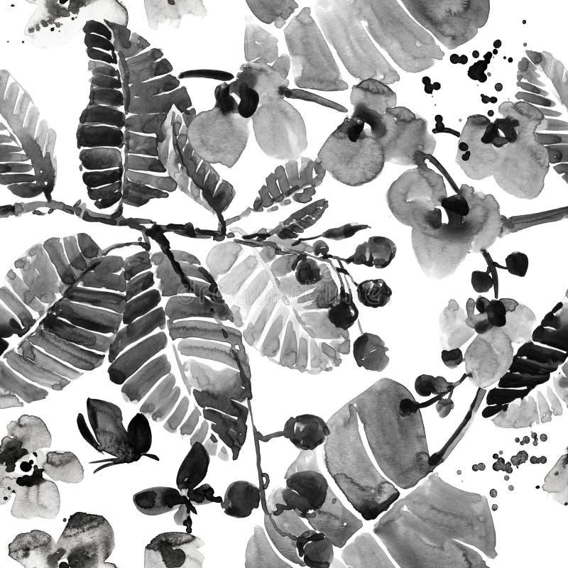 Tropisch patroon de aard naadloze achtergrond van de waterverf wilde wildernis vector illustratie