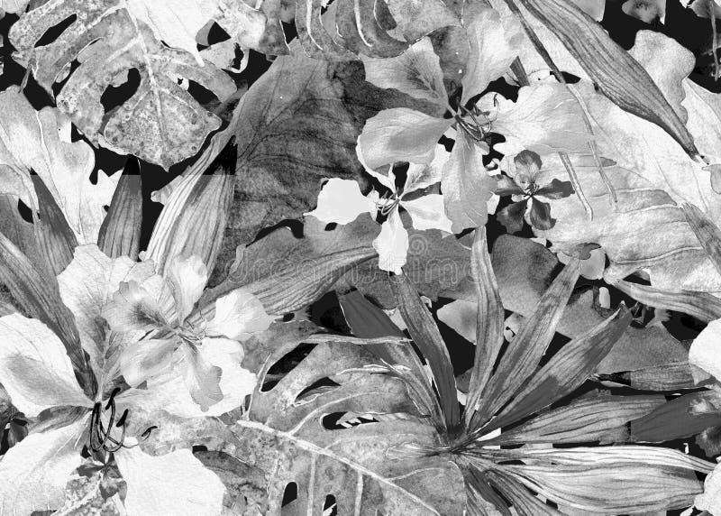 Tropisch patroon De palm van waterverfthailand, monstera, hibiscus, banaanboom stock illustratie