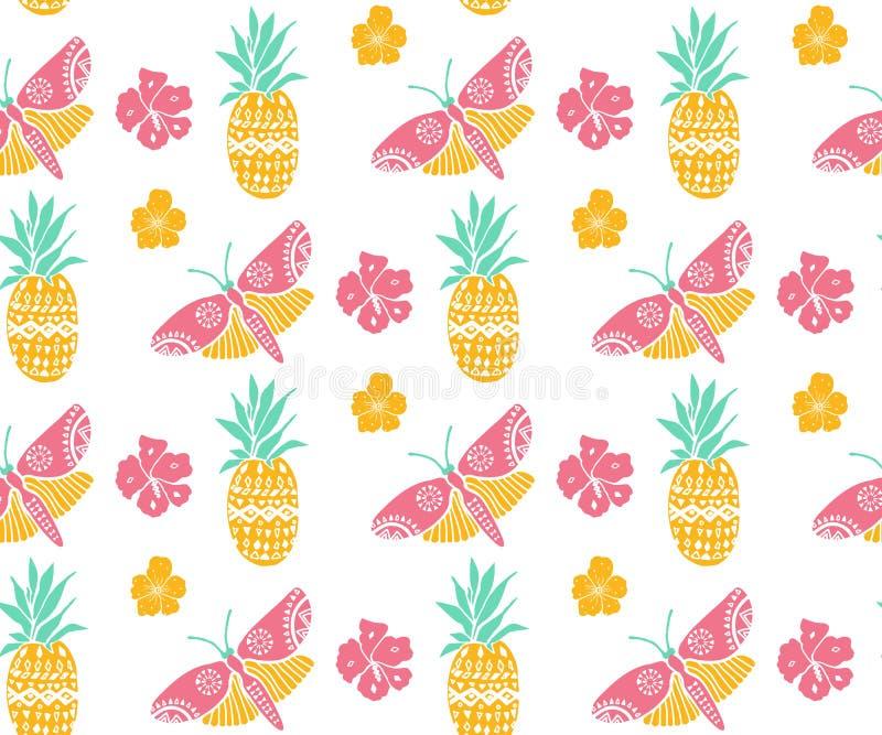 Tropisch patroon met ananas, bloemen en vlinder Roze, gele en muntkleuren, diagonale richting De zomertextiel royalty-vrije illustratie