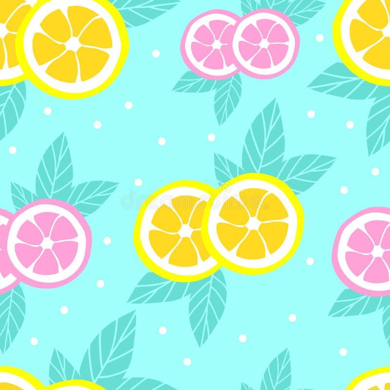 Tropisch patroon met citroenen in vlakke stijl Zoete en kleurrijke de zomerachtergrond Vector illustratie stock illustratie