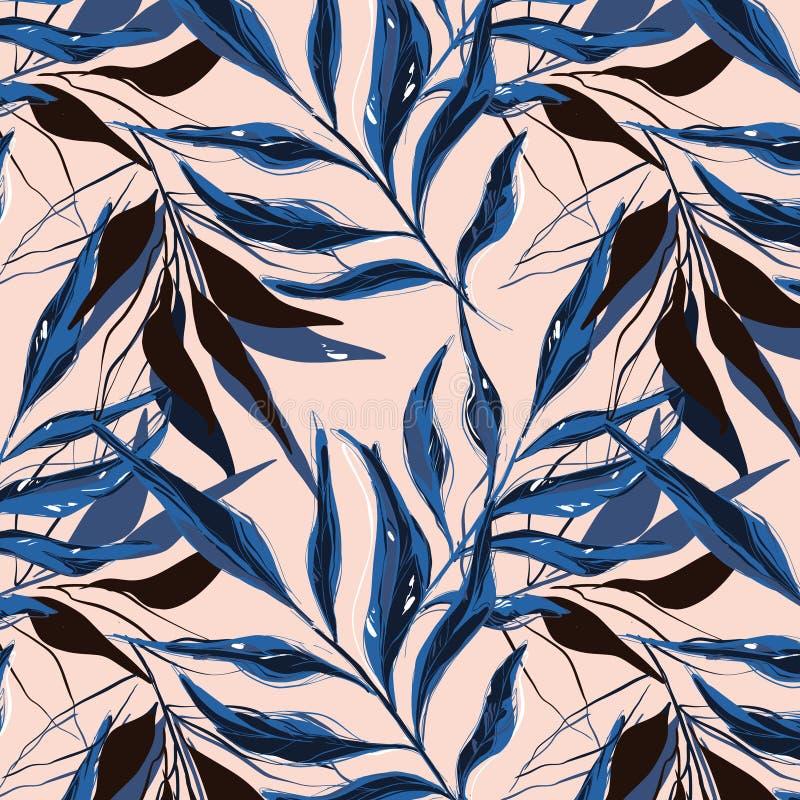 Tropisch patroon met de bladeren van de palmbanaan die met contourlijnen tegen roze achtergrond worden getrokken Achtergrond met  vector illustratie