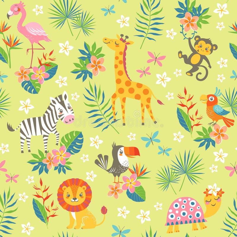 Tropisch patroon met leuke dieren stock illustratie