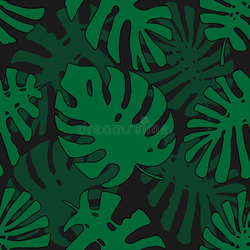 Tropisch patroon Naadloze Textuur met Hand Getrokken Bladeren van Exotische Boom royalty-vrije illustratie