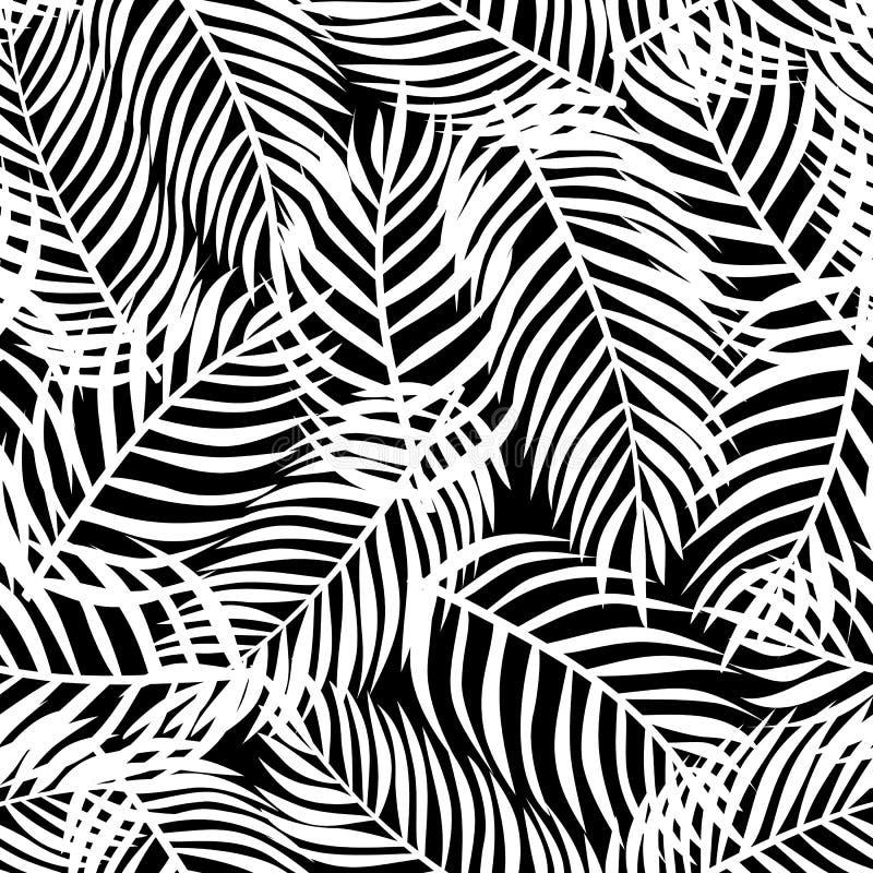 Tropisch patroon, vector bloemenachtergrond Palmbladen naadloos patroon stock illustratie