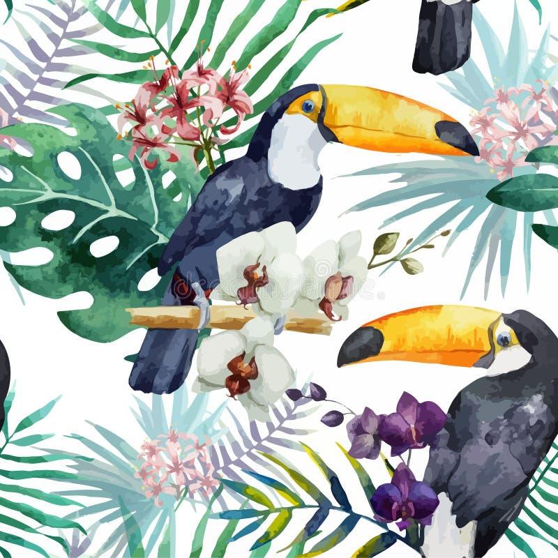 Tropisch patroon, waterverf royalty-vrije illustratie