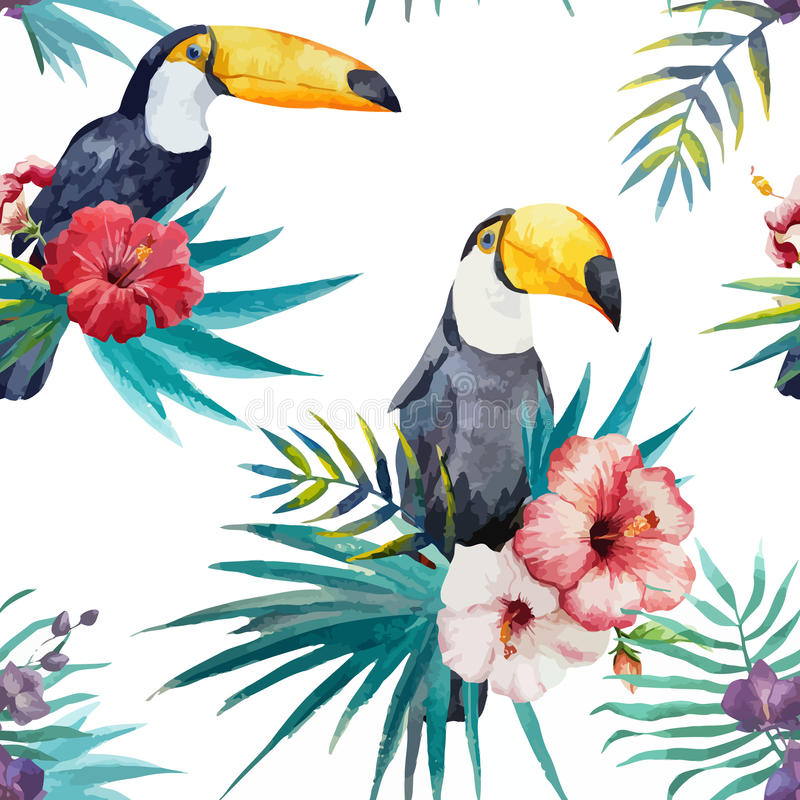 Tropisch patroon, waterverf stock illustratie