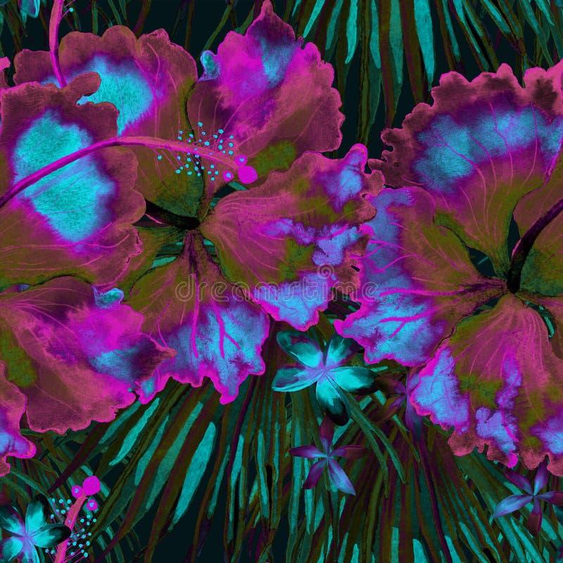 Tropisch patroon Waterverf exotische bloemen en monsterabladeren royalty-vrije illustratie