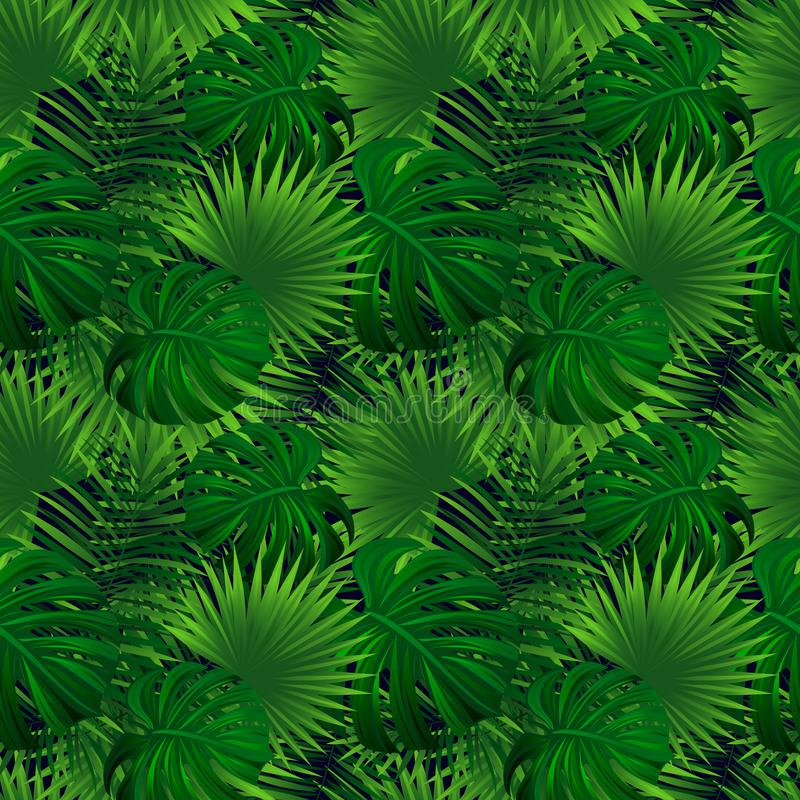 Tropisch regenwoud naadloos patroon uitheemse gewassen vectorillustratie De Achtergrond van de wildernis Groene kruidentextuur stock illustratie