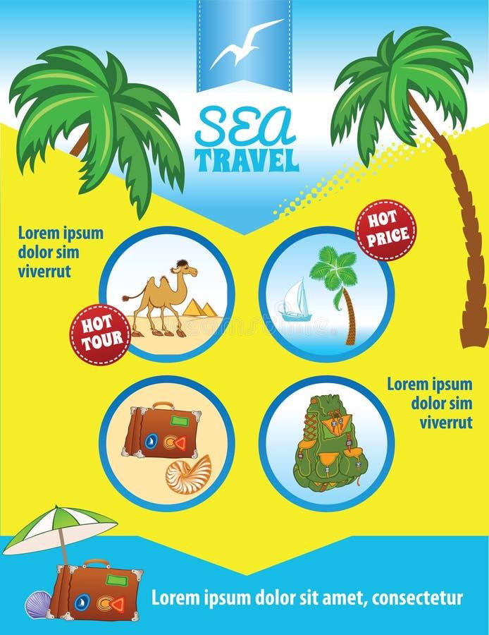 Tropisch Reis Vectormalplaatje met Palmen royalty-vrije illustratie