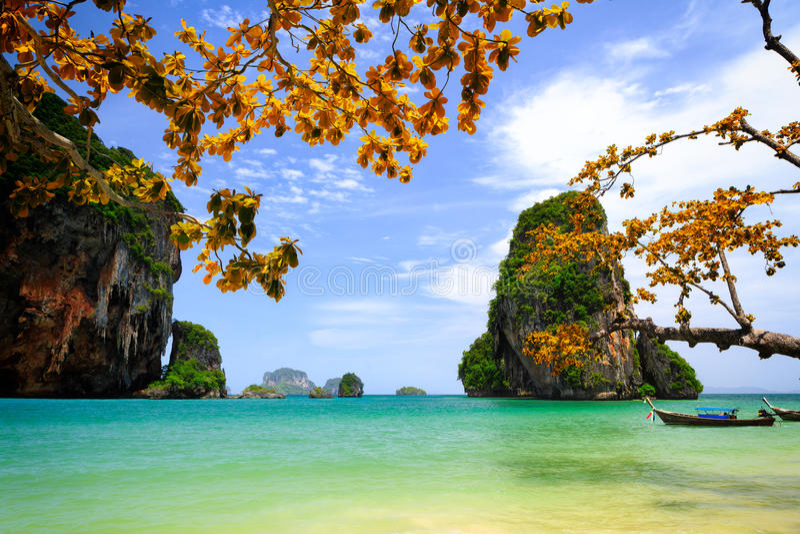 Tropisch strand Krabi, Thailand stock afbeeldingen