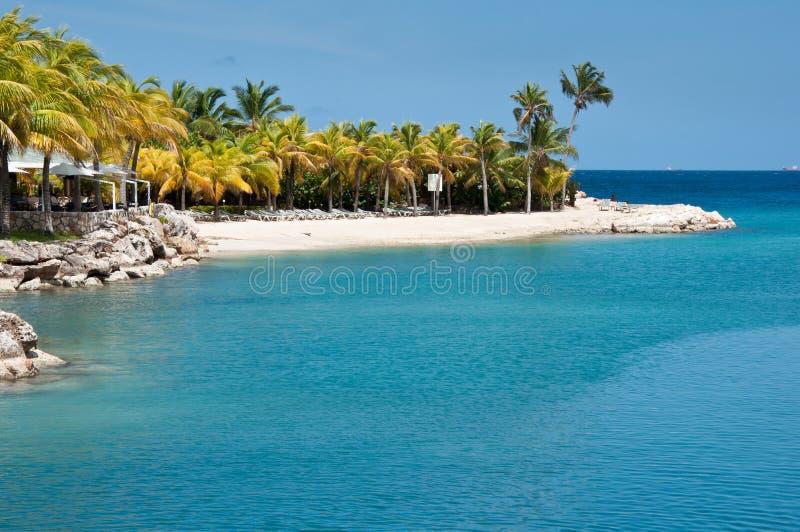 Tropisch Strand met Blauw Water stock foto's