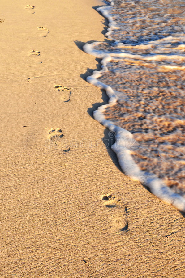 Tropisch strand met voetafdrukken stock afbeeldingen