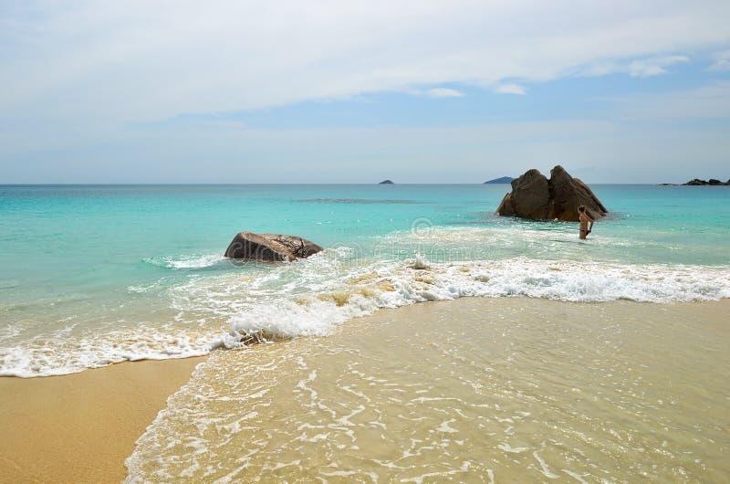 Tropisch strand op Seychellen royalty-vrije stock afbeelding