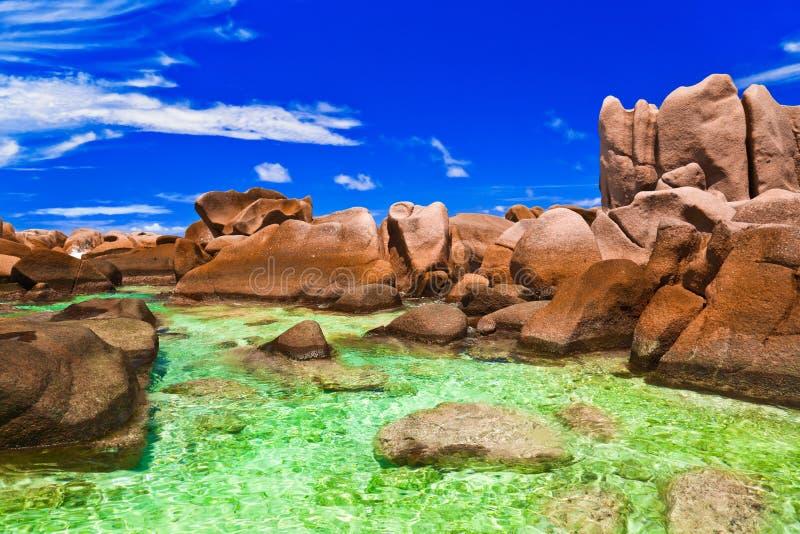 Tropisch strand in Seychellen stock foto's