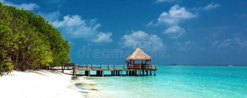 Tropisch strandpanorama royalty-vrije stock fotografie