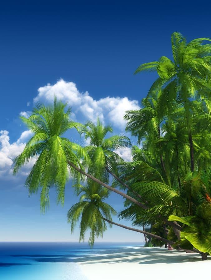 Tropisch strandparadijs vector illustratie