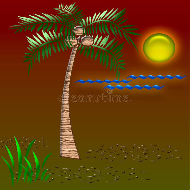 Tropisch vakantieart. stock illustratie