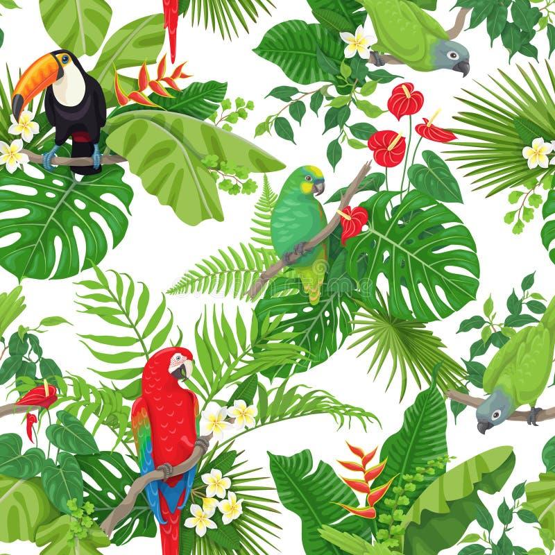 Tropisch Vogels en Bloemenpatroon stock illustratie
