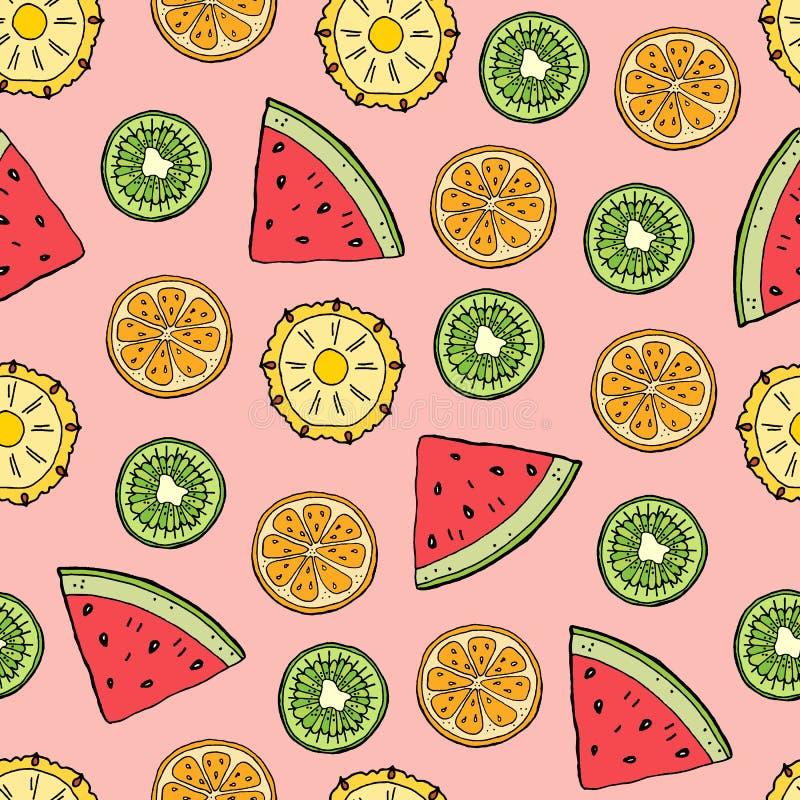 Tropisch vruchten patroon vector illustratie