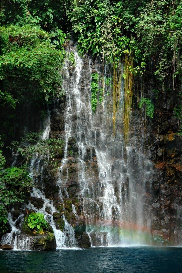 Tropisch watervaldetail met regenboog. royalty-vrije stock afbeelding