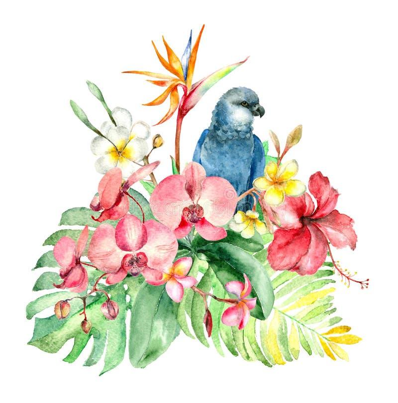Tropisch waterverfboeket vector illustratie