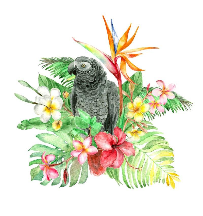 Tropisch waterverfboeket royalty-vrije illustratie