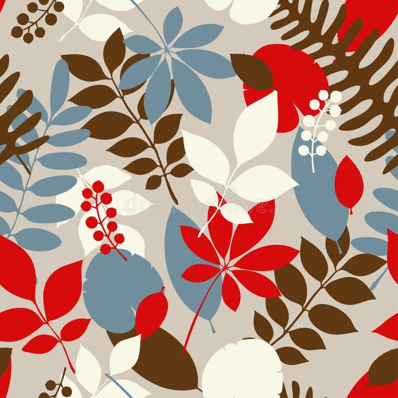 Tropisch wildernis in naadloos patroon met exotische palmbladen royalty-vrije illustratie