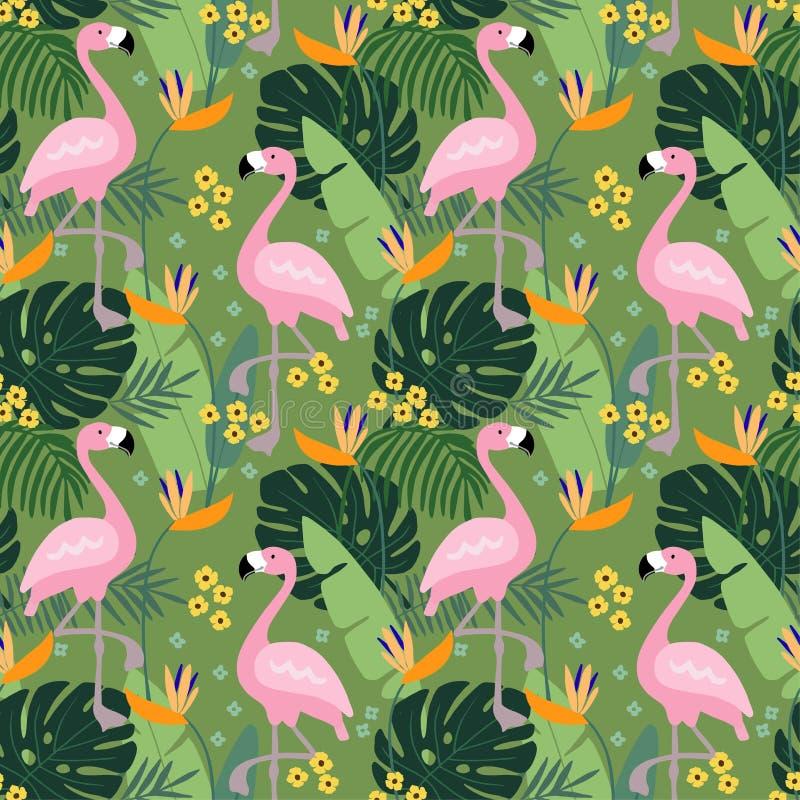 Tropisch wildernis naadloos patroon met flamingovogel, palmbladen en bloemen Vlak ontwerp, vectorillustratie royalty-vrije illustratie