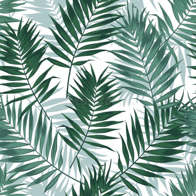 Tropisch wildernis naadloos patroon met palmbladen Het bloemenontwerp van de de zomerstof, vectorillustratieachtergrond vector illustratie