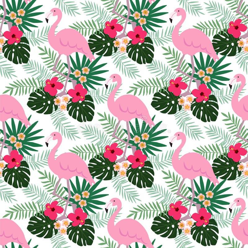 Tropisch wildernis naadloos patroon met van van de flamingovogel, hibiscus en plumeria bloemen en palmbladen, vlak ontwerp, royalty-vrije illustratie