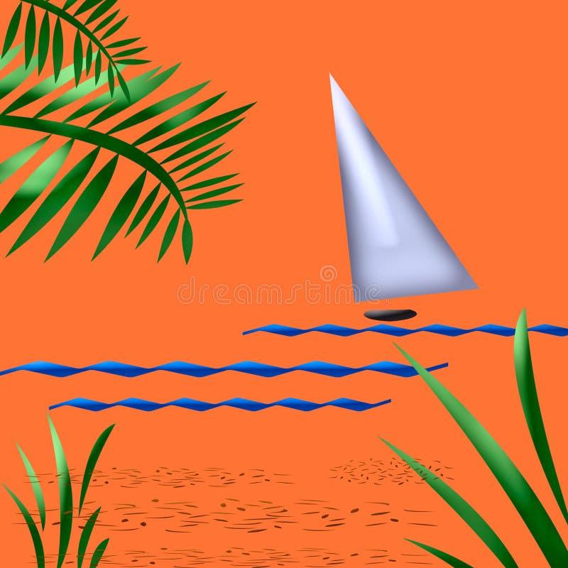 Tropisch zonsondergangart. vector illustratie