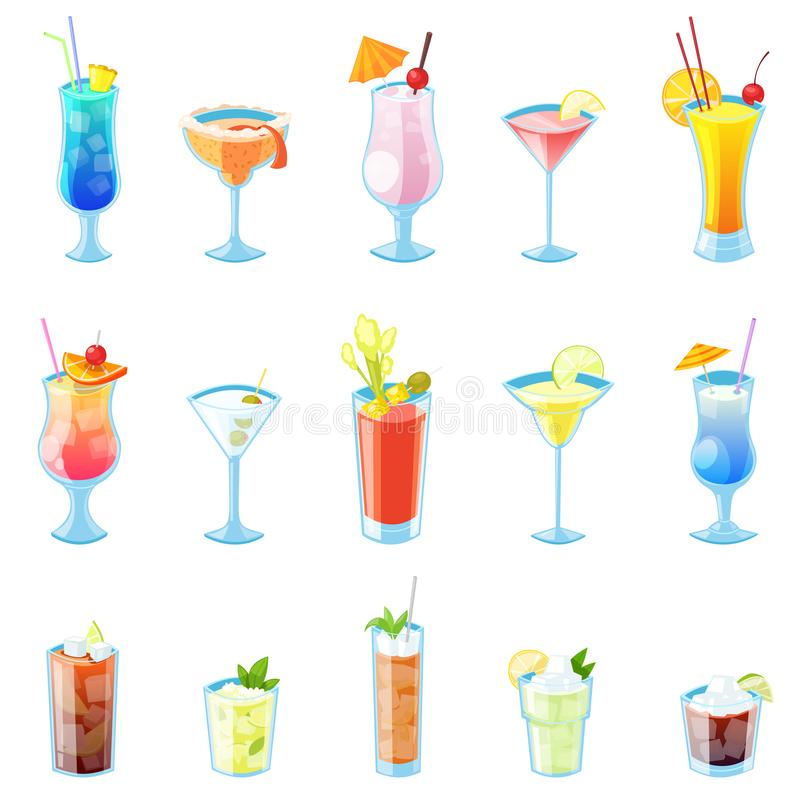 Tropische Alkoholcocktail-Vektorillustration Satz lokalisierte Getränke und Getränkikonen lizenzfreie abbildung