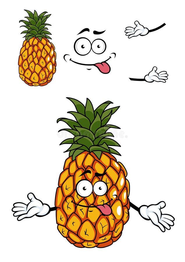 Tropische Ananas der glücklichen Karikatur stock abbildung