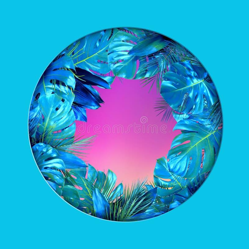 Tropische Anlage treibt Kreisform mit leerer rosa Mitte auf tadellosem Hintergrund Bl?tter stock abbildung