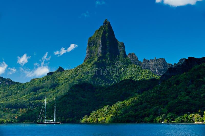 Tropische baai van Moorea Tahiti stock afbeeldingen