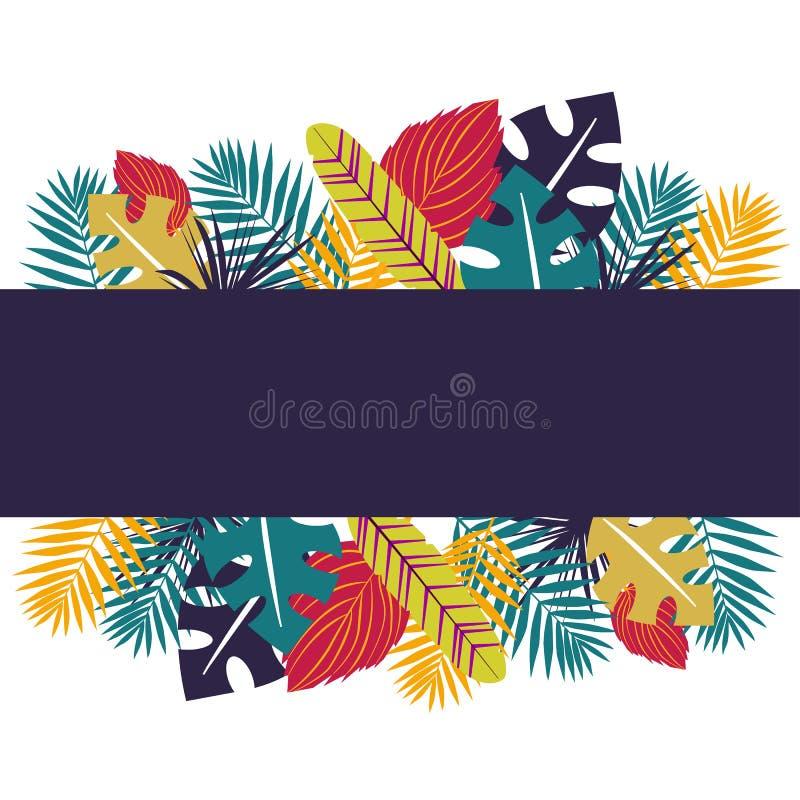 Tropische banner met colorfullbladeren Kruidenontwerp met installaties voor kaarten, uitnodiging, affiches, sparen het datum of g vector illustratie